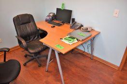 "Lot Office c/o: 63"" x 47"" x 30"" High Wood Top Computer Desk, High-Back Swivel Arm Chair, (2) Assorte"
