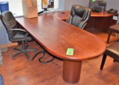 "Lot Office c/o: 84"" x 36"" x 28.5"" High Wooden Desk w/ 72"" Right Return, (2) High-Back Swivel Arm Cha"