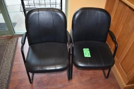 Lot (2) Metal Frame Leather Upholstered Arm Chairs