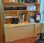 """Lot Office c/o: 71.5"""" x 24"""" x 30"""" High Wooden Office Storage System w/Cabinet Base, Top-Mounted Wood"""