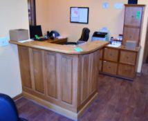 "Lot c/o: L-Shape Reception Station c/o: 54"" x 36"" x 44"" High Corner Counter, 92"" Long Desk Top, (2)"
