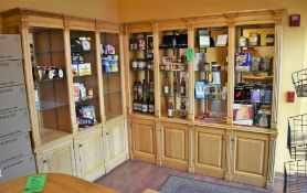 "7' x 15"" x 7' High L-Shape Wooden Display Case w/ 64"" x 15"" x 7' High Left Return, Cabinet Style Bas"