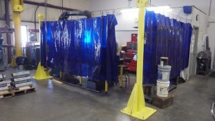 """Lot c/o: Assorted Welding Curtains c/o: (4) Up rights 8' tall, (1) 66"""" X 12' lg curtain, (1) 66"""" X 8"""