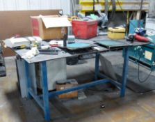 """6' X 4' Steel Table with 4"""" Bench Vise and Baldor 3/4 HP Double end Grinder-No other contents are in"""