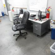 3 Desk, Chairs, Book Shelf, File Cabinets And Cabinets ( No Computers, Printers, Refrigerator or AC