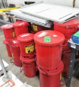 Lot c/o: (23) Assorted Red Rag Cans, Assorted Sized Action Dry Erase Boards.**Lot Located at 2395 Da