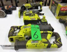 Lot Assorted Ryobi Cordless Power Tools c/o: (2) Ryobi 18V Saw All, Ryobi 18V Jig Saw, Ryobi 18V Gri