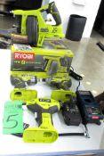 Lot Assorted Ryobi Cordless Power Tools c/o: (2) Ryobi 18V Impact, Ryobi 18V Drain Auger, Ryobi 18V