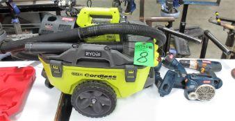 Ryobi 18V Cordless Portable Wet / Dry Vac, Ryobi 18V Drill, (2) Ryobi 18V Flash Lights, (1) Battery