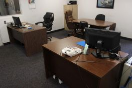 Office w/ 2 desks, conference table, 6 chairs, 1- 2 drawer file cabinet & 1- 4 drawer file cabinet