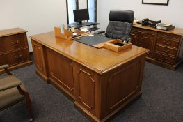 President office includes desk, credenza, Dell monitor, lateral file cabinet, conference table w/4 c