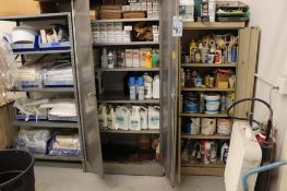 2- 2door cabinets w/contents & 1- shelving unit w/contents
