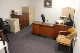 Office w/ desk, 4 chairs, file cabinets & Dell computers