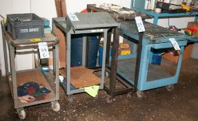 (1) Polly Rolling Cart and (3) Steel Carts, No Contents