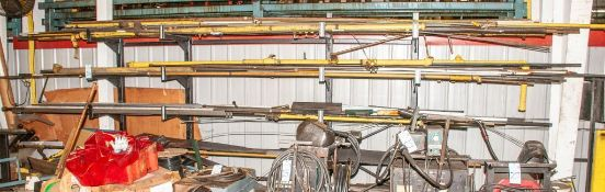 """Freestanding Cantilever Rack with Contents Various Metal (4) Uprights Approx. 80' Tall, 24"""" Welded A"""