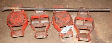 (4) HEAVY HAUL MACHINE SKATES (2) MDL UMS-HD-30, 15 TON & (2) UM-HD-20, 10 TON W/HANDLE