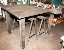 """Steel Welding Table 48 x 60"""" 7'8"""" Thick Top 40 3/4"""" Tall w/ Babco 606 Vice 6"""" Jaws No Contents"""