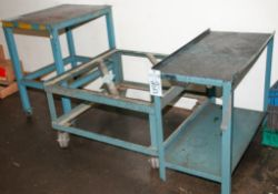 """Steel Rolling Work Table 24 x 30"""" Top 36"""" Tall, Short Steel Rolling Cart No Top 37 3/4"""" x 38"""" x 20 1"""