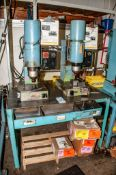 (2) Bracker Radial Mdl. RN 280 Radial Riveting Machine s/n's 25477 & 25541 Mounted on Stand
