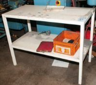"""Steel Work Table 24 x 48"""" Top 36"""" Tall with Shelf NO Contents"""
