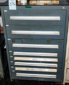8-Drawer Cabinet w/ Contents, .02 Shims, Misc. Out Of Calibration Dial Indicators, Pressure Indicato