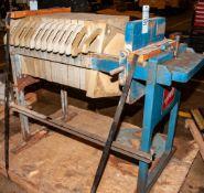JWI Filter Press, Mdl. 470G30-6-1MA, s/n 1832, (13) Press Plates & (1) Broken Press Plate On Stand 1