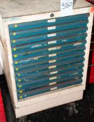 Deltronic 12-Drawer Rolling Cabinet w/ Contents, Plug Gages 3.63-19.64mm Not Complete, See Photos