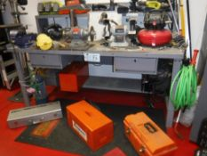 Lot c/o: 6-Ft Metal Work Table & Contents-Grinders, Pancake Air Compressor, Ryobi Power Tool & Batte