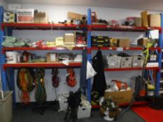 """Lot c/o: BUILDING MAINTENCE ROOM-(2) Sections Metal Shelving(144"""" x 2ft deep x 8ft tall) with Power"""