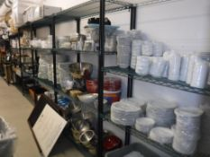 Lot c/o: Cafe Storage Room-(9) Shelves & Contents of Room- Rolling Bar, Table Cloth Covers, Drink Di