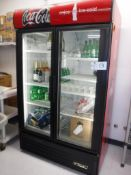 True Model GDM-43EM 2-Door Glass Front Display Refrigerator S/N: 6713022, 1/2-HP Motor Drive, Lighte
