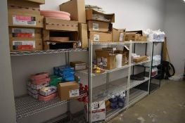 Lot c/o: Contents Custodial Room- Shelves w/Contents, Trash Cans, Vacuum, See Pictures