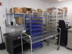 Lot c/o: Food Service Storage Room- Plastic Forks & Knives, B3000SE Keurig, Rolling Carts, Metal She