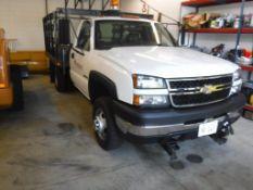 2006 Chevy Silverado K3500 S/A 4 x 4 Flatbed Stakeside Truck Vin# 1GBJK34U16E189996, LQ4 V8 Gas, A/T