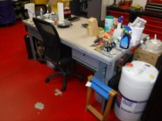 Lot c/o: Contents Maintenance Room (AV/IT NOT INCLUDED) Frig, Tool Boxes on Casters, Desk, File Cabi