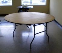"""2 - 60"""" Round Formica Top Table 30.5"""" High Metal legs"""