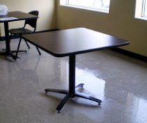 "(9)- 36"" Square Pedestal, Dark Brown Formica Top Tables, Black Base 4 Feet"