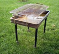 """Big John Stainless Grill on Wheels, 39"""" X 25"""" Adjustable Grate Grilling Surface"""