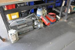 Lot-Radios, Jumper Cables, Tool Tote Boxes, Pump Sprayers, Lights, etc. on Floor Under (1) Bench