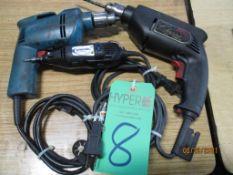 Three Electric Drills, Makita 3/8, Skill 3/8, Dremel Multi Pro