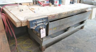 """10-1/2"""" Record 53E Quick Release Woodworking Vise w/ 98""""L x 36""""FB x 35""""H Work Bench, Roller"""