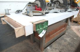 """10"""" Woodworking Vise w/ 96""""L x 35""""FB x 37"""" Work Bench, Roller Bearing Chest Draw"""