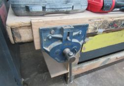 """9"""" Record 52-1/2ED Quick Release Woodworking Vise w/ 98""""L x 36""""FB x 37"""" Work Bench"""