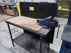 STEEL WORK BENCH 4 FT. X 23 IN. W/BENCH VISE