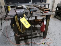 STEEL WORK TABLE W/RECORD BENCH VISE