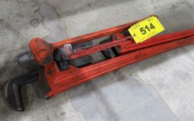 3 RIDGID PIPE WRENCHES AND RUBBER SLEDGE HAMMER