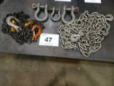 LOT OF (3) CHAINS & (3) SHAKLES (RIGGING FEE $10)