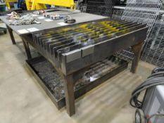 "60"" X 116"" LONG STEEL CUTTING TABLE C/W 1/2"" X 60"" X 60"" LONG STEEL PLATE (RIGGING FEE $35)"