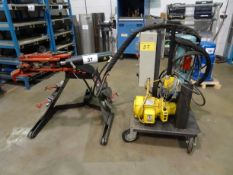 CST 10 TON CAPACITY, HYDRAULIC BENDER MOUNTED ON CASTORS C/W 3 H.P. HYDRAULIC POWER PACK MOUNTED