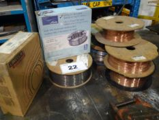 LOT OF (8) ASSORTED ROLLS OF WELDING WIRE (RIGGING FEE $10)
